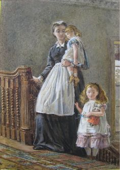 George Goodwin Kilburne (1839-1924) — Governess with Two Girls (742x1049)