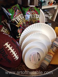 "Heading out to a football game or hosting a viewing party? Our ""not paper"" plates are a nice choice. They are dishwasher safe!"
