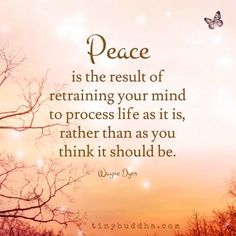 """Peace results from retraining your mind to process life as it is, not as you think it should be. Spiritual Quotes, Wisdom Quotes, Positive Quotes, Quotes To Live By, Me Quotes, Motivational Quotes, Inspirational Quotes, Quotes About Peace, Inner Peace Quotes"