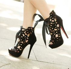 Sexy Openwork and Lace-Up Design Stiletto Heel Boots