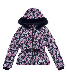 GIRLS POPPIES N POSIES PUFFER WITH DETACHABLE SLEEVES - Juicy Couture