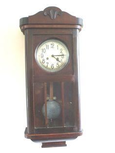 DRGM German Glazed & Carved Mahogany Case Striking Wall Clock 31 H 13 W 6.5 D