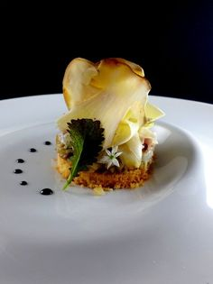 On a shortbread with hazelnut, bar tartare with young shoots of Japanese mustard, and mushroom carpaccio -