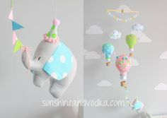 Gender neutral, baby mobile, hot air balloon, travel theme nursery decor, bright blue, hot pink, lime green and a fun baby elephant, i86
