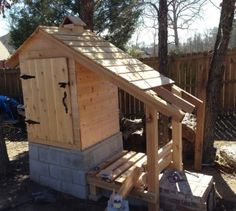 Nick finished the roof and wood rack and installed a door on the front of the smoker.