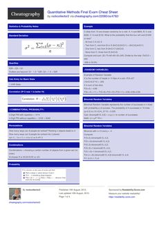 Quantitative Methods Final Exam Cheat Sheet by rockcollector2 http://www.cheatography.com/rockcollector2/cheat-sheets/quantitative-methods-final-exam/ #cheatsheet #