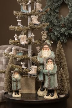 Prim Santas, tree, and ornaments