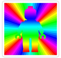 """""""Rainbow Minifig in front of Rainbow by Customize My Minifig"""" Stickers by ChilleeW 