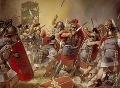 Late Republican legionaries under Julius Caesar fighting against the relieving…