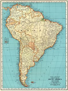 Items similar to 1935 Antique SOUTH AMERICA Map of South America Print Gallery Wall Art Map Collector Gift For Traveler Birthday Wedding 8662 on Etsy – south america destinations America Continent Map, South America Map, South America Destinations, America America, Vintage Maps, Vintage Wall Art, Antique Maps, Printable Maps, Printables