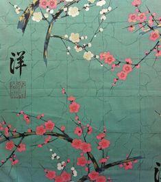 The background colour is turquoise. Design Japonais, Art Japonais, Cherry Blossom Japan, Geisha Art, Art Asiatique, Bohemian Print, Japanese Fabric, Japan Art, Game Art