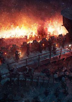 "[Spoilers] ""Battle of Winterfell"" Concept Art by Philipp Scherer Fantasy Battle, Medieval Fantasy, Dark Fantasy, Game Of Thrones Castles, Game Of Thrones Art, Fantasy Places, Fantasy World, Valhalla, Knight Art"