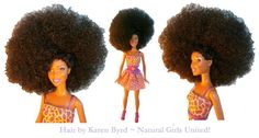 Big Afro Doll - This doll had straight hair. Her hair was customized to have a big Afro with one section pulled up. She comes with a new ou. Ethnic Hairstyles, Afro Hairstyles, Straight Hairstyles, Big Afro, African American Dolls, Dreadlocks, Black Barbie, Afro Punk, Doll Hair