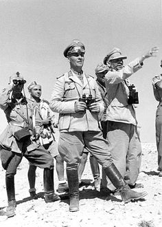 General Rommel with entourage inspecting our position.