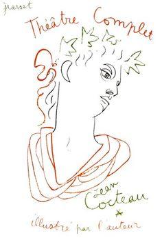 Jean Cocteau devant l'un de ses dessins