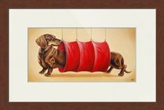 """""""Chocolate+Dachshund+in+the+Tunnel""""+by+Dmitry+Guskov,+Somerset+//+A+long+chocolate+dachshund+walking+through+the+red+tunnel.+//+Imagekind.com+--+Buy+stunning+fine+art+prints,+framed+prints+and+canvas+prints+directly+from+independent+working+artists+and+photographers."""