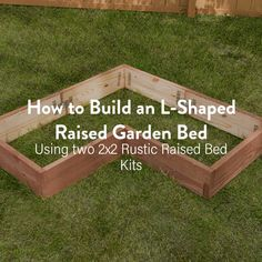 Create an L-shaped garden bed in less than 30 minutes! - Create an L-shaped garden bed in less than 30 minutes! Create an L-shaped garden bed in less than 30 minutes! Cheap Raised Garden Beds, Raised Garden Bed Plans, Raised Vegetable Gardens, Building Raised Garden Beds, Raised Flower Beds, Raised Beds, Vegetable Gardening, Diy Garden Bed, Gardening Apron
