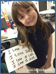 "QUICK WRITES BUILD FLUENCY AND WRITING MUSCLE. This girl has just completed a fluency activity where she practiced writing her favorite ""heart word"" sentences with good handwriting. Documentation is from an action- research project with Nellie Edge and Jaime Corliss. See blog ""Talking to Kindergartners about their Writing"" for delightful examples of children's writing and teacher language that empowers young learners. http://nellieedge.com/blog/"