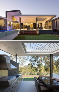 23 Awesome Australian Homes That Perfect Indoor / Outdoor Living // Glass doors connect the main level of this home to a covered outdoor dining and entertaining area, and lead out to the pool and putting green. Australian Homes, Indoor Outdoor Kitchen, Outdoor Kitchen Design, Outdoor Entertaining Area, Indoor Outdoor Living, Outdoor Decor, Outdoor Kitchen, Outdoor Living, Outdoor Design
