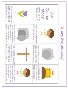 Easter story preschool pack- 15 pages of free printables about the Bible story of the death and resurrection of Jesus day christian Easter Worksheets, Easter Activities, Preschool Crafts, Work Activities, Kindergarten Activities, Easter Story For Kids, Easter Crafts For Kids, Easter Story For Preschoolers, Easter Ideas
