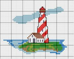 LIghthouse Cross Stitch~I found it on Google, but the link to the actual pattern wouldn't work.  I think it's easy enough to figure out the colors.