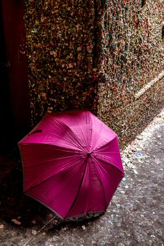 pink umbrella at the chewing gum wall in Seattle Pink Umbrella, Under My Umbrella, Beautiful Nature Wallpaper, Beautiful Images, Pink Love, Pretty In Pink, Splash Photography, Beauty In Art, Love Rain