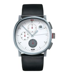 TIC BLACK STRAP MENS ALESSI WATCH WHITE DATE DIAL