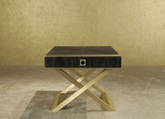 The Armani Casa Gold on Gold Nighstand is a contemporary bedroom classic, mixing solid materials and lines, with a sophisticated touch and delicate details. Top 25 modern nighstands for a great room Armani Casa Gold On Gold Bedside Table Living Furniture, Luxury Furniture, Furniture Design, Gold Furniture, Furniture Ideas, Modern Bedroom Lighting, Contemporary Bedroom, Side Tables Bedroom, Bedside Tables