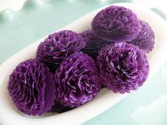 Button Mums Tissue Paper Flowers Purple Wedding, Bridal Shower, Baby Shower Decor