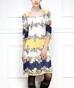 Yellow & White Floral Scoop Neck Dress