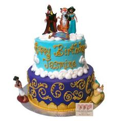 This elegant turquoise and purple cake has fluffy clouds supporting the characters from Aladdin on their magic carpet ride. The gold scroll and unique fondant border […] Jasmine Birthday Cake, Jasmine Cake, Aladdin Cake, Birthday Fun, Birthday Ideas, Birthday Parties, Quince Cakes, Two Tier Cake, Fondant