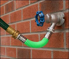 """Trying to get the last few inches of reach by pulling on a hose can cause it to kink at the faucet.This 6-5/8"""" kink eliminator simply connects between a standard hose and faucet, bending in a smooth curve under tension to prevent unwanted kinks and extend hose life. The 5/8"""" I.D. nylon hose has zinc-plated brass fittings.FDA approved for use with potable water.Made in Canada. Lee Valley, Magnetic Wall, Brass Fittings, Bending, Wood Turning, Garden Hose, Dryer, Faucet, Smooth"""