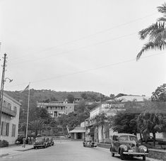 A street view of a cars and Hotel 1829 in Charlotte Amalie, St. Thomas, US Virgin Islands.