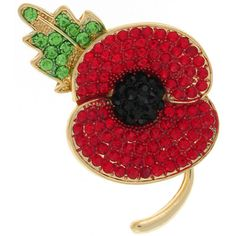 Red Green Black Crystal and Gold Poppy Flower with Leaf Brooch Remembrance Poppy, Royal British Legion, Lady Diana, Black Crystals, Small Flowers, Flower Brooch, Red Green, Poppies, Product Launch