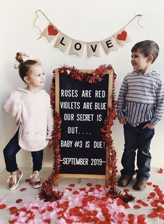 Cute as heck Valentine& theme pregnancy announcement! Third Baby Announcements, Valentines Pregnancy Announcement, Creative Pregnancy Announcement, Cute Pregnancy Announcement, Christmas Pregnancy Reveal, Third Pregnancy, Pregnancy Info, Pregnancy Belly, Pregnancy Pants