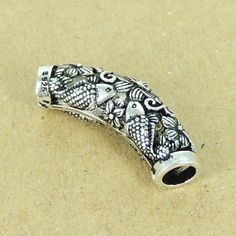 1 PC Detailed Koi Fish Charm - S925 Sterling Silver WSP305X1