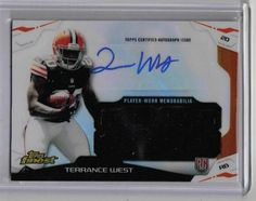2014 Topps Finest Football Terrance West Auto Relic Rookie Card Cleveland Browns
