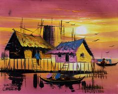 Cambodian Oil Painting by AsianCraftShop on Etsy, $15.00