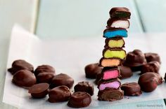 Rainbow Mini Mints by Namely Marly - substitute seattle chocolates vegan extreme dark chocolate truffles for chips.
