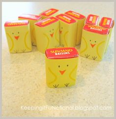 Mini-raisin boxes, construction paper, and markers. Cute & healthy Easter treats.