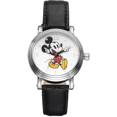 Disney's Mickey Mouse Women's Leather Watch, Black ($40) ❤ liked on Polyvore featuring jewelry, watches, black, leather wrist watch, disney jewelry, dial watches, charm watches and mickey mouse charms