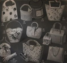 1957, 1950s Summer bags of woven plastic, raffia straw straw, and fabric. Mid Century