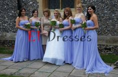 Strapless lilac chiffon with sash bridesmaid dress ,prom dress