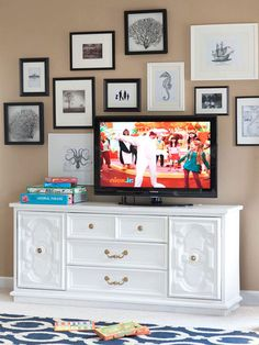 Bring Unity - thrift store console painted white to match livingroom furniture