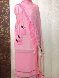 Beautiful punjabi suit with screen painting