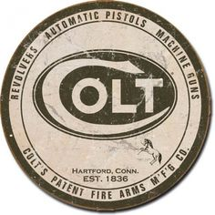 "This vintage tin sign features Colt Firearm's logo. Celebrate the 2nd Amendment by hanging this in your man cave or giving it to a gun enthusiast in your life! Measures 11.75"""" diameter The sign has"