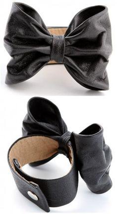 Black leather bow cuff bracelet