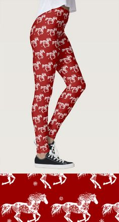 holiday horse LEGGINGS! Christmas themed equestrian leggings with red and white snowflake horse pattern. So festive and perfect for the horse lover!