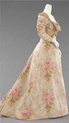 pink floral evening dress in silk & linen, ca 1897