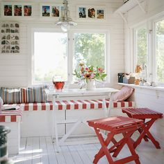 Interior of a summerhouse in Roslagen, Sweden by Annika Vannerus.